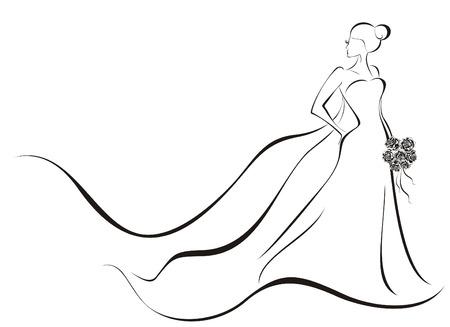 weisse kleider: Hochzeit Hintergrund - Braut in gebl�mten Kleid Illustration