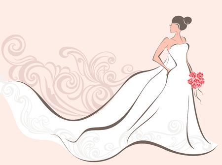mazzo di fiori: Illustrazione vettoriale di una bella sposa