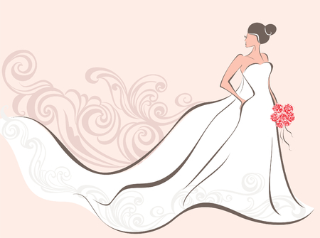 Vector illustration of a beautiful bride  Illusztráció
