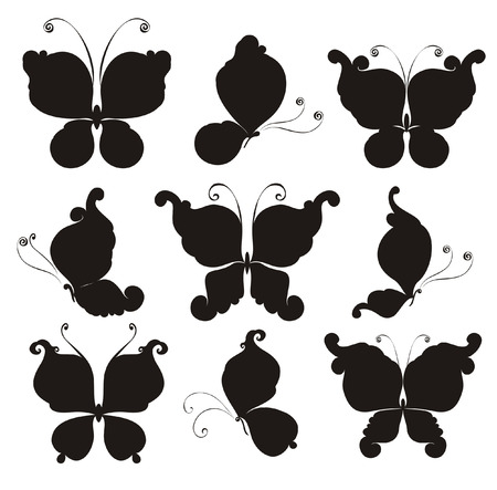 Set silhouettes of butterflies Vector