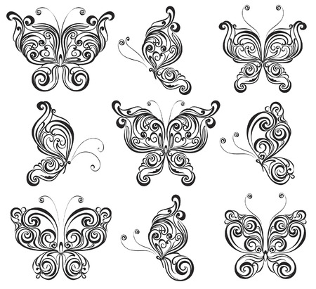 Set of butterflies tattoo Vector