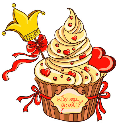 Cupcake with crown and hearts  Vector