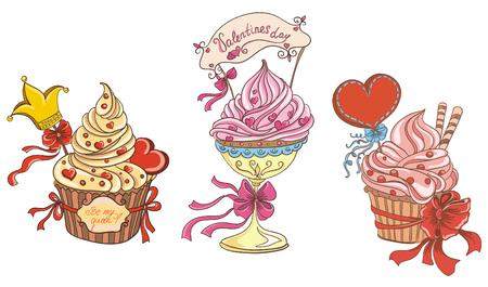 disegno a mano: Cupcakes con cuori dolce Vector disegno a mano