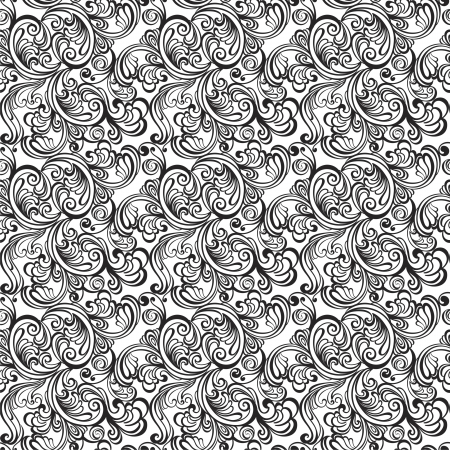 black and white plant: Seamless floral pattern  Vintage background