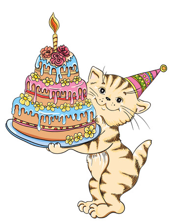 Cat with cake celebrate birthday  Vector illustration  Vector