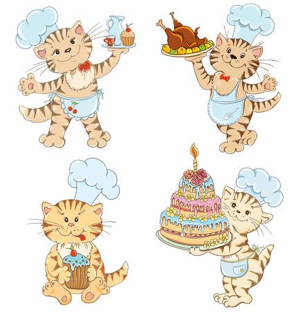 Libro Para Colorear Con El Chef Gato De Dibujos Animados Para La ...