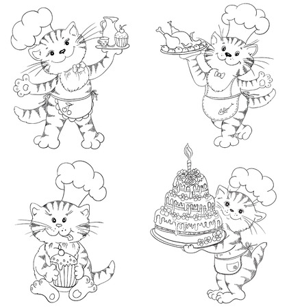 Cartoon Katze K�chenchef