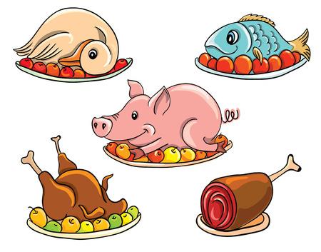 Diverse gangbare vleesproducten in zwart en wit, geïsoleerd op wit