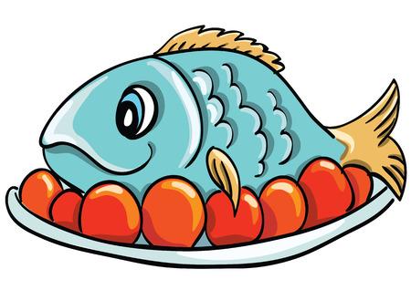 pescado frito: Pescados de la historieta en un plato Vectores