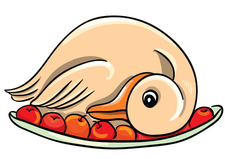 Cartoon goose on a plate Illustration