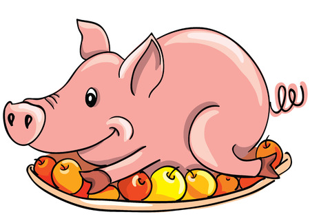 cooked meat: Cartoon fried pig on a plate Illustration