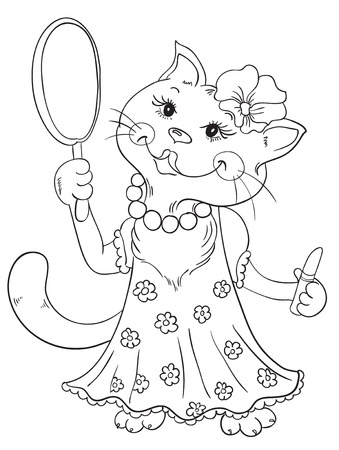 Cute cat applying make-up in the mirror Vector