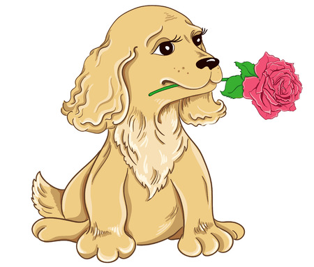 Cartoon puppy with pink rose isolated on white background Vector