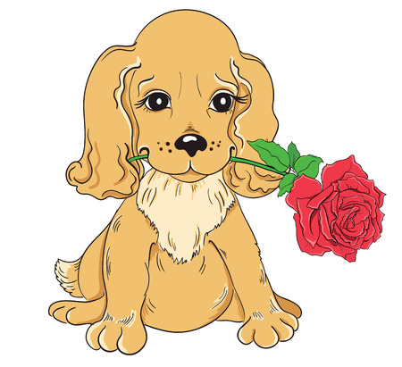 Cartoon puppy with red rose isolated on white background