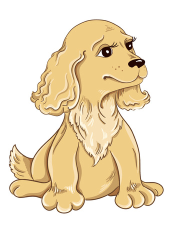 pup: Cartoon puppy drawing on white background