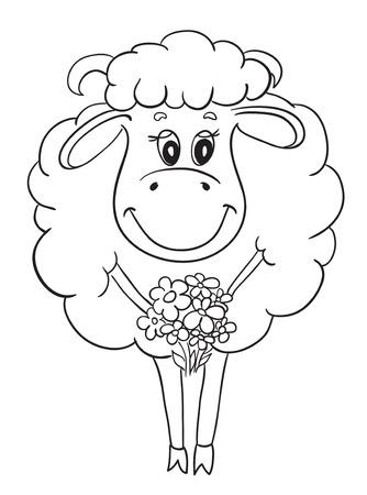 面白い羊は、花であなたのデザインのスケッチします。