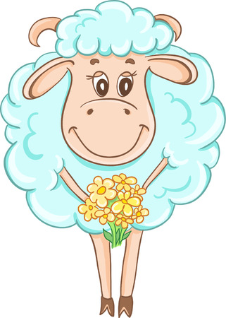 Cartoon sheep with a bouquet of daisies Illustration