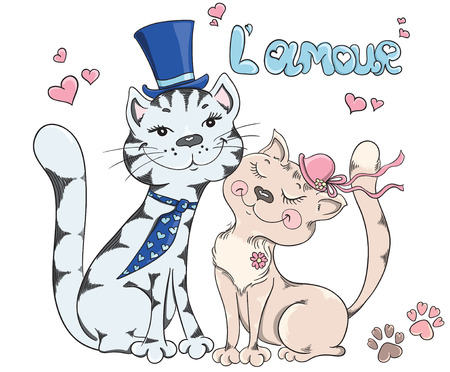 happy couple white background: Groom and bride, cats wedding. Cute romantic background Illustration