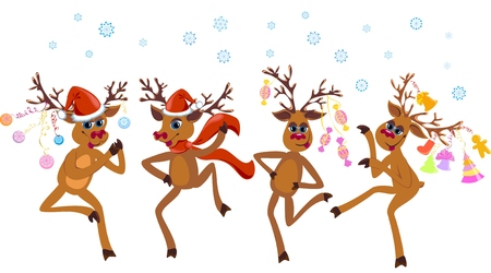 Christmas dancing reindeer Vector