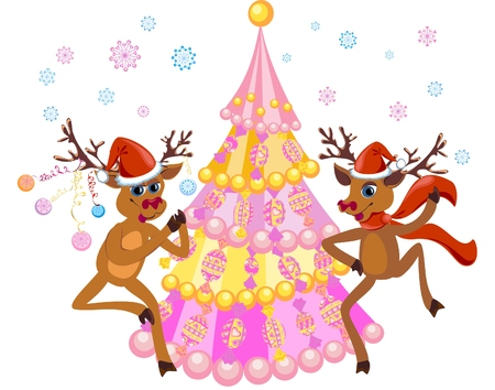 Christmas card with funny christmas deer Vector