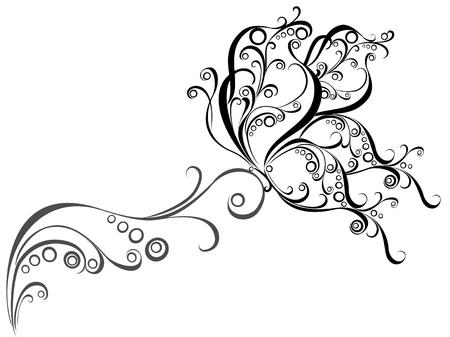 �white: Ornamento floral del vector con la mariposa, elemento para el dise�o