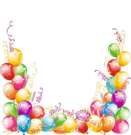 Happy birthday  Balloons and confetti isolated on white background  Ilustração