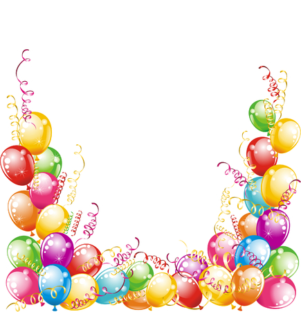 balloon border: Happy birthday  Balloons and confetti isolated on white background  Illustration