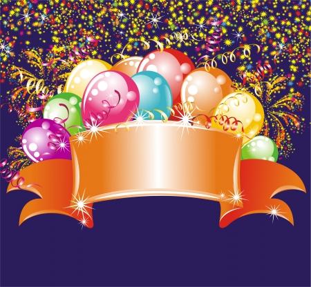 birthday backdrop: Festive fireworks and balloons  Birthday background