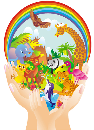 Cartoon wild animals in hands  Vector