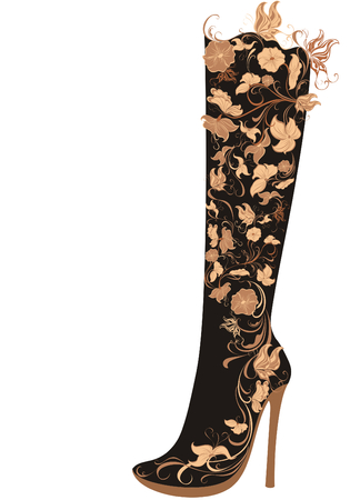 ladies shoes: Vector stylized floral shoes