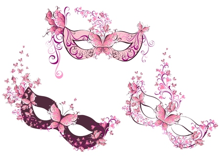 Set woman masks with flowers and butterfly  Illustration