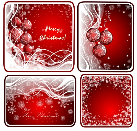 Set christmas red background  photo
