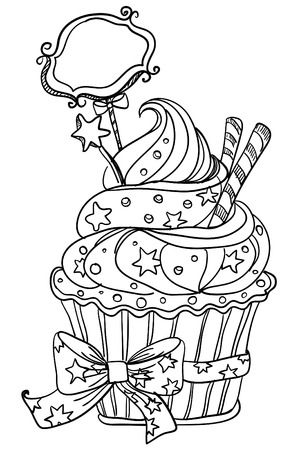 Vector hand drawing cupcake Vector