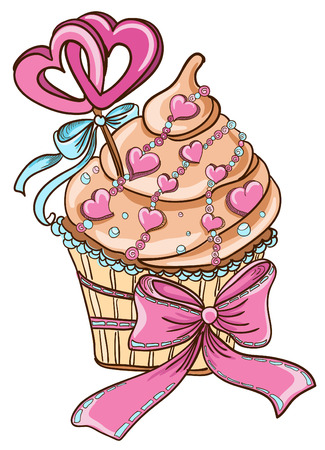 Cupcake with hearts Vector
