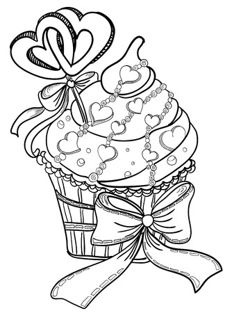 disegno a mano: Vector disegno a mano cupcake con cuori Vettoriali