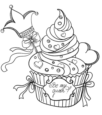 queens birthday: Vector hand drawing cupcake with crown and hearts