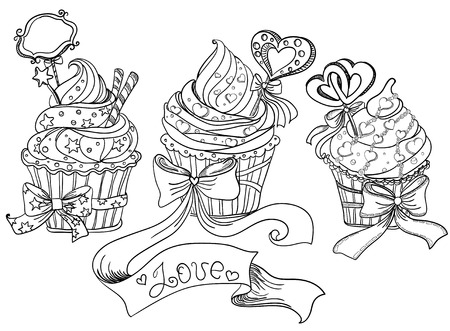 candy hearts: Set of cupcakes  Vector hand drawing Illustration