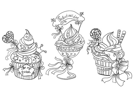 Set of cupcakes  Vector hand drawing      Vector