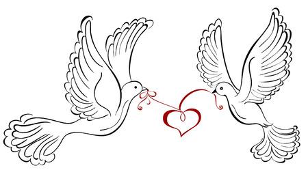 Dos pájaros del amor con forma de corazón Ilustración de vector