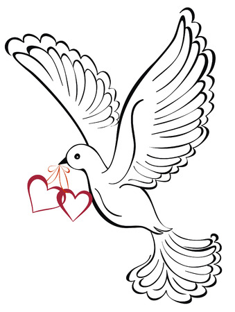 Vector dove with heart shaped Vector
