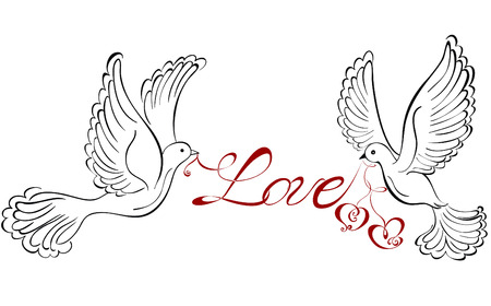 Two love birds with heart shaped Imagens - 23468641