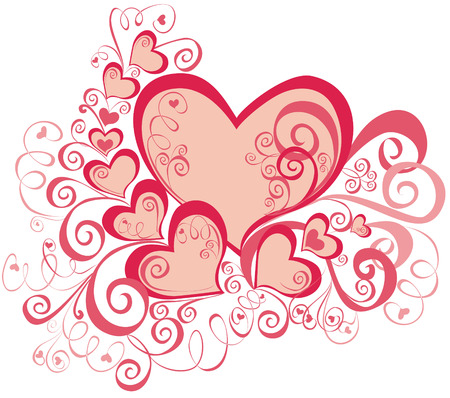 scroll shape: beautiful heart with floral ornament, element for design, vector image