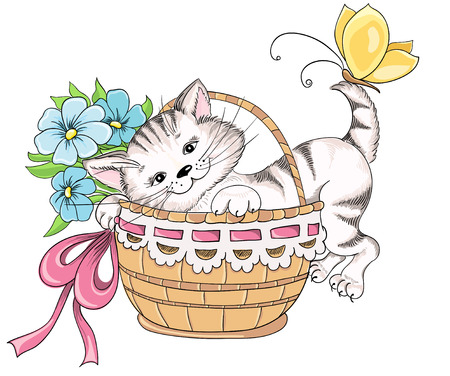 Kitty and bouquet of flowers in basket. Vector hand drawing Vector