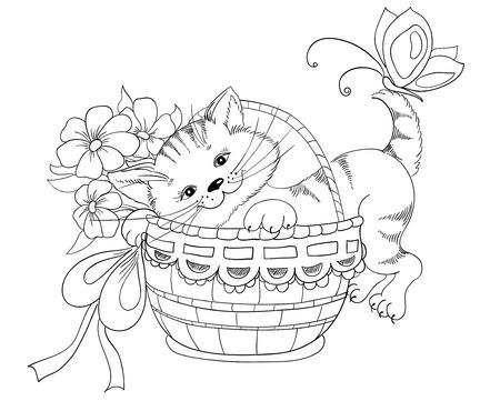Wektor strony rysunku kotek i bukiet kwiatów w koszu Ilustracje wektorowe