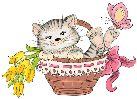 Kitty and bouquet of flowers in basket. Vector hand drawing