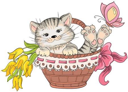Kitty en een boeket bloemen in de mand. Vector hand tekening
