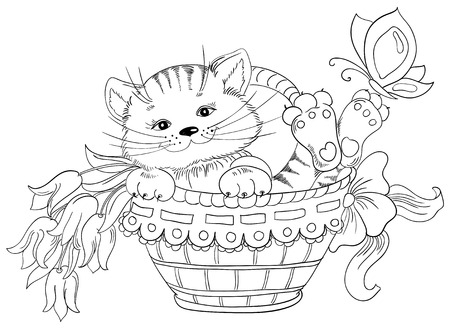 Vector hand drawing kitty and bouquet of flowers in basket Stock Vector - 23468661