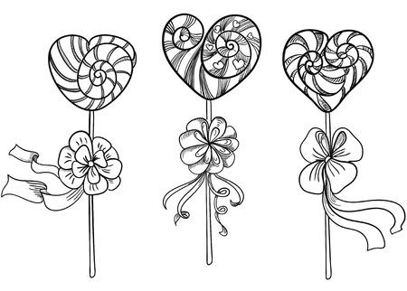 Heart-shaped lollipops Vector