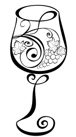 Wineglass with grapevines