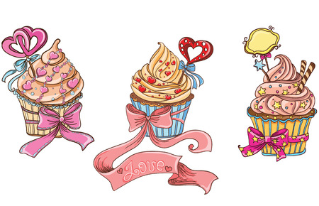 Set cupcake with sweet hearts Vector